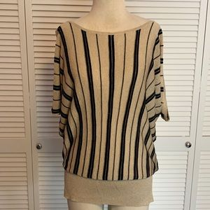 Cache Gold And Black Metallic Striped Knit Top XL